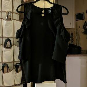 Black Cold shoulder long sleeve blouse